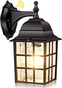 Outdoor Wall Lantern w/ Dusk to Dawn Photocell Sensor, Matte Black Exterior Wall Sconce, E26 Base Socket, Premium Waterfall Glass, 100% Anti-Rust Waterproof Wall Mount Lamp for Entryway Porch Doorway
