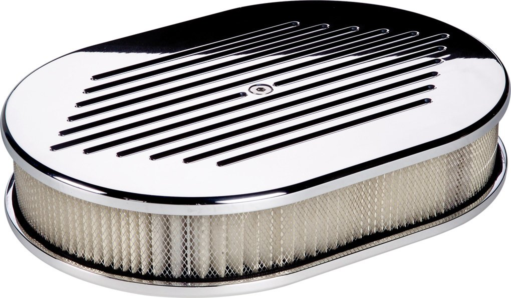 Small Ribbed Oval Air Cleaner Polished Billet Specialties 15630