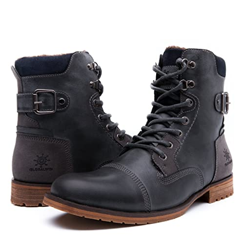 Globalwin Mens Fashion Lace Up Cap Toe Winter Ankle Combat