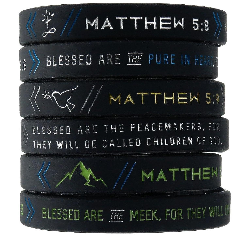 6 Pack The Beatitudes Bible Wristbands W Christian Symbols