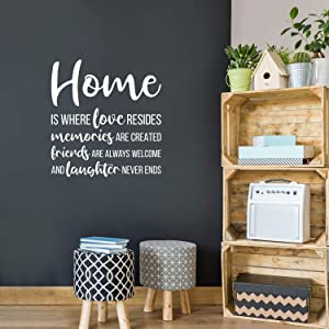 """Vinyl Wall Art Decal - Home is Where Love Reside - 23.5"""" x 22"""" - Modern Inspirational Love Quote Sticker for Family Home Living Room Dining Room Bedroom Entryway Decor (White)"""
