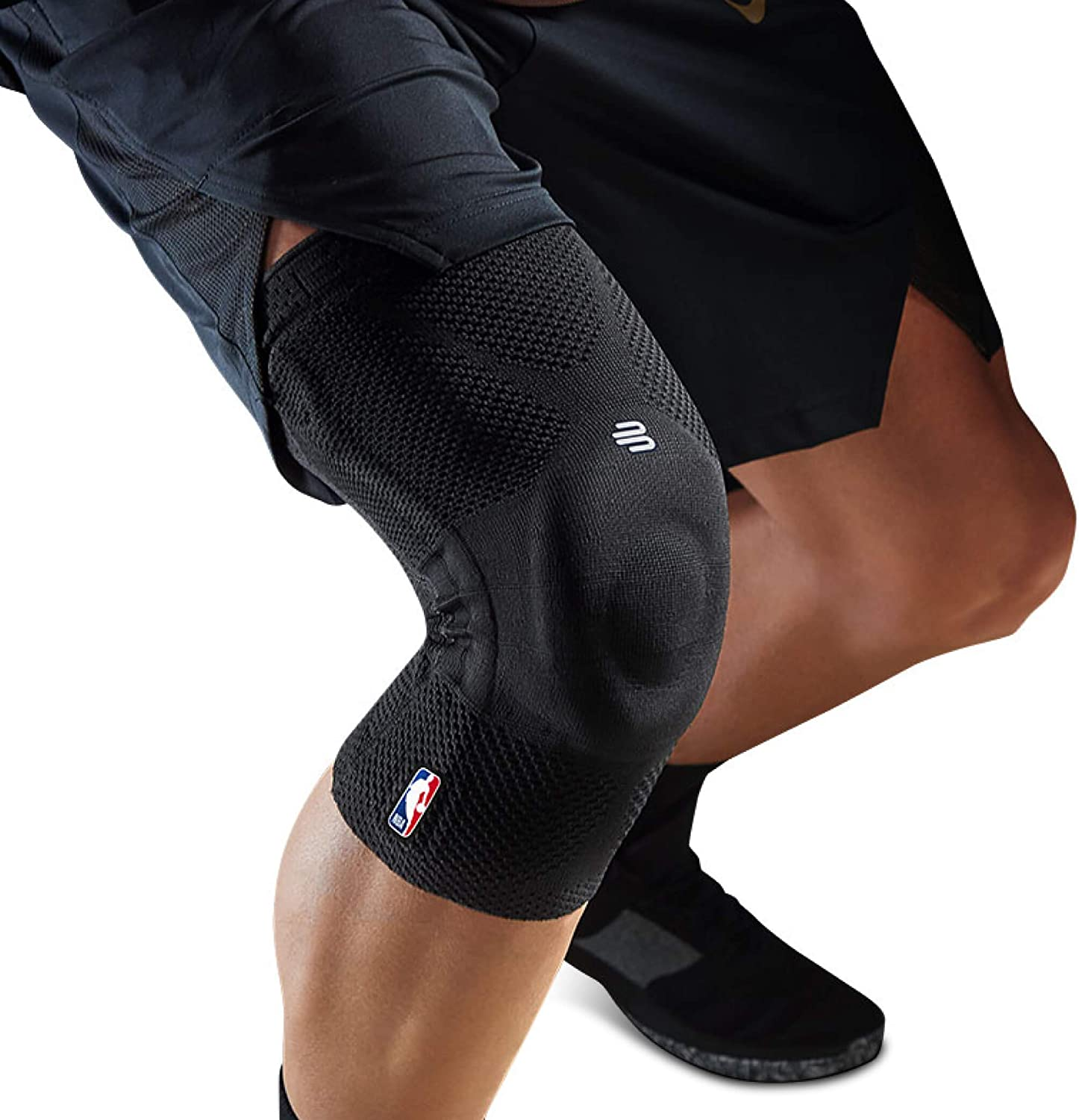 Bauerfeind GenuTrain NBA Knee Brace - Basketball Support with Medical Compression - Sleeve Design with Patella Pad Gel Ring for Pain Relief & Stabilization (Black, XS)