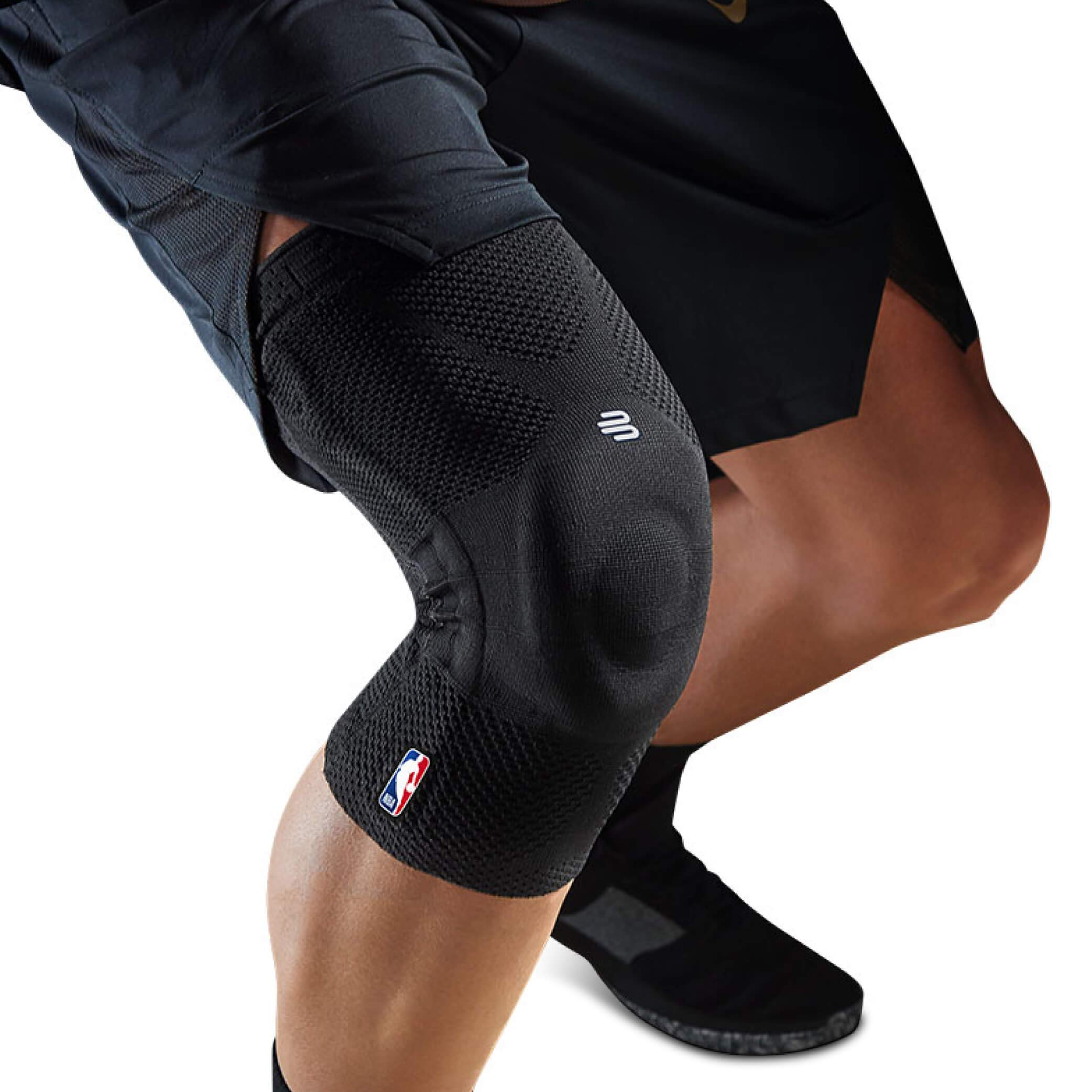 Bauerfeind GenuTrain NBA Knee Brace - Basketball Support with Medical Compression - Sleeve Design with Patella Pad Gel Ring for Pain Relief & Stabilization (Black, L)