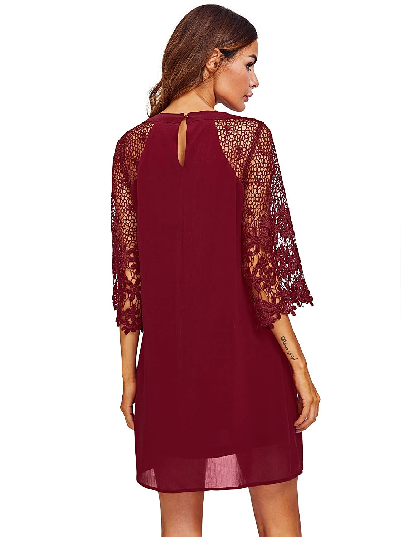 525a92a4e19 MAKEMECHIC Women's Casual Crewneck Half Sleeve Summer Chiffon Tunic Dress  at Amazon Women's Clothing store: