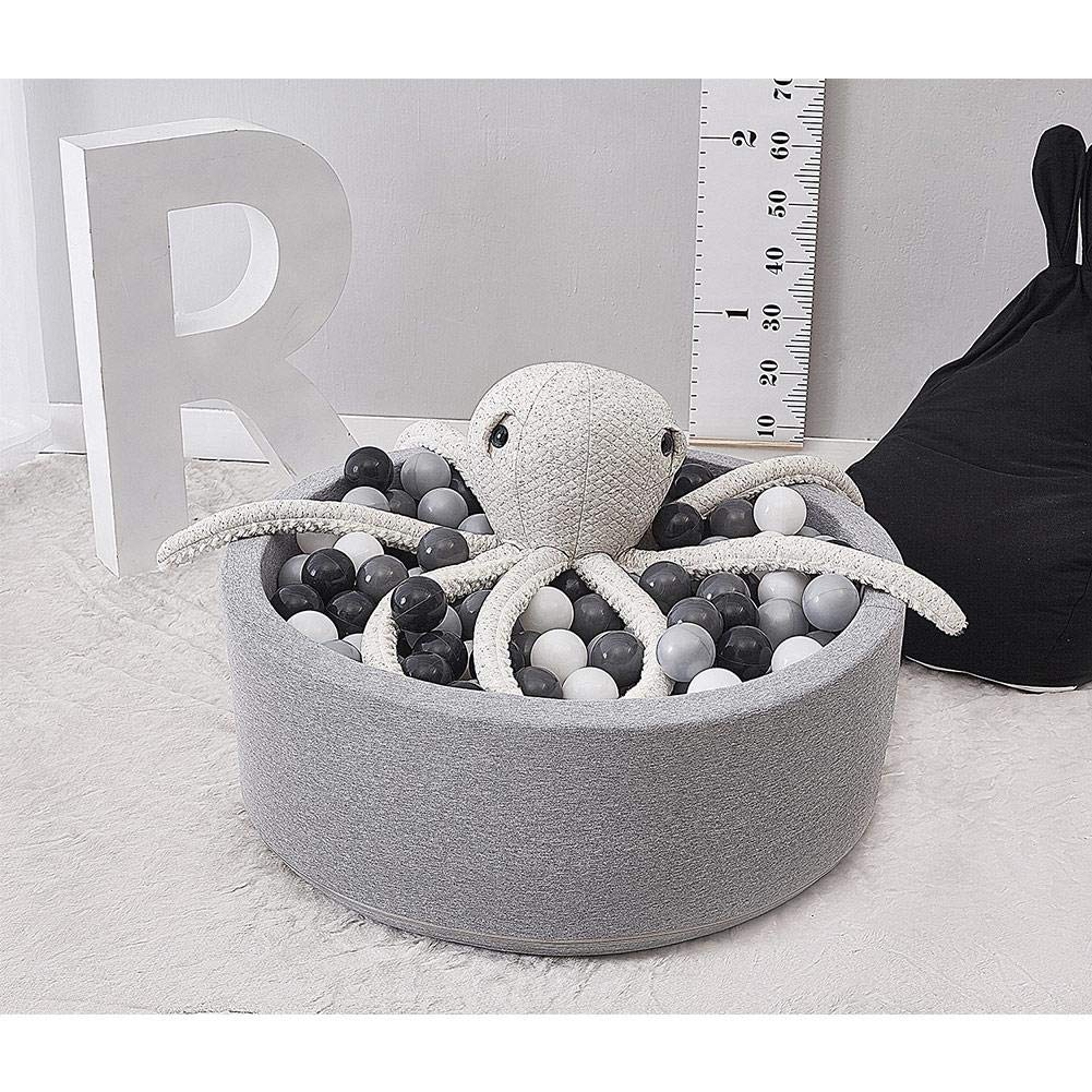 Depruies Kids Play Ball Pool Soft Quality Sponge Ocean Ball Pool Indoor Deluxe Baby Round Ball Pit Ideal Gift Play Toy for Children Toddler Infant Boys Girls(Gray) by Depruies (Image #4)