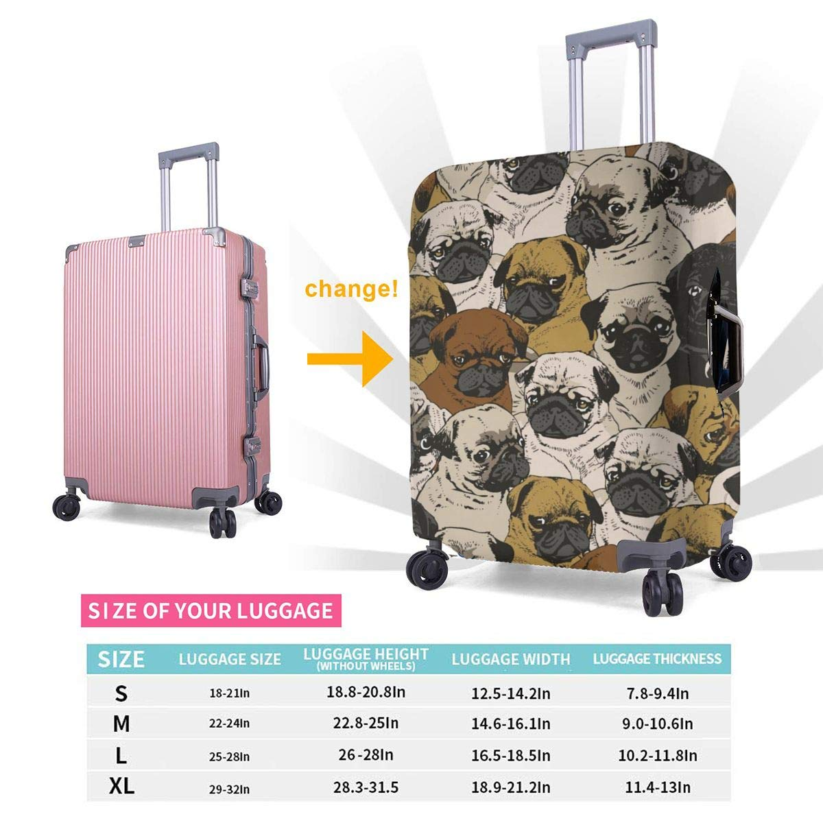 Travel Luggage Cover Spandex Suitcase Protector Washable Baggage Protective Covers Funny Pug Cartoon Dog Fit 18 To 32 Inch