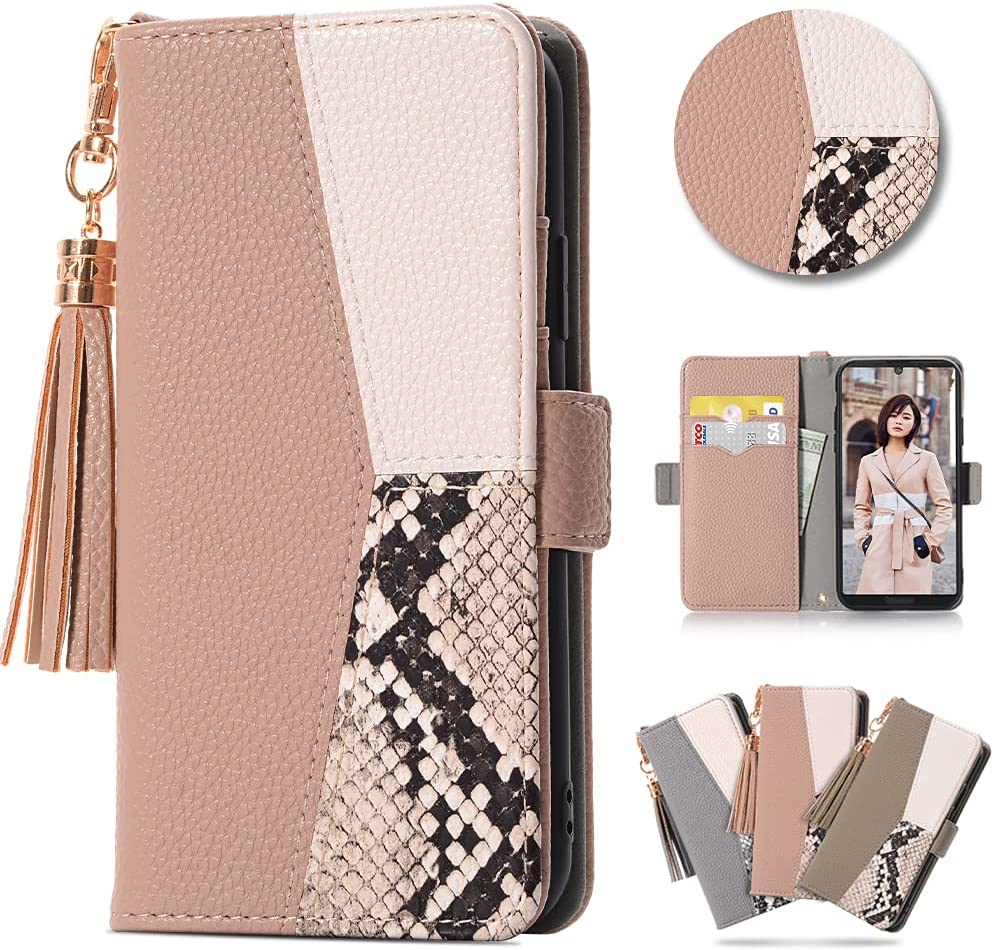 iPhone 11 Cute Wallet Case for Girls Women Lovely PU Leather Flip Cover Card Slots Stand Magnetic Closure Tassel Tricolor Snakeskin Element Case for iPhone 11 6.1 Inch