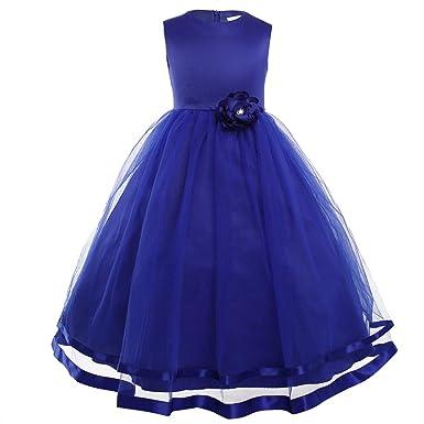 Freebily Vestido Largo de Princesa para Niña (2-14 años) sin Manga Vestido Infantil Boda Fiesta: Amazon.es: Ropa y accesorios