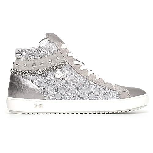 ad15736cee Moda Scarpe Sneakers Alte Donna in Pelle e Pizzo con Catene Nero ...
