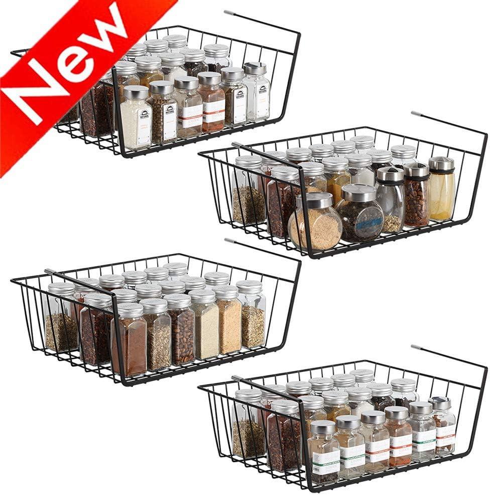 Nandae Under Shelf Basket, Wire Rack Slides Under Shelves for Storage, Set of 4 for Bathroom Kitchen Cabinet