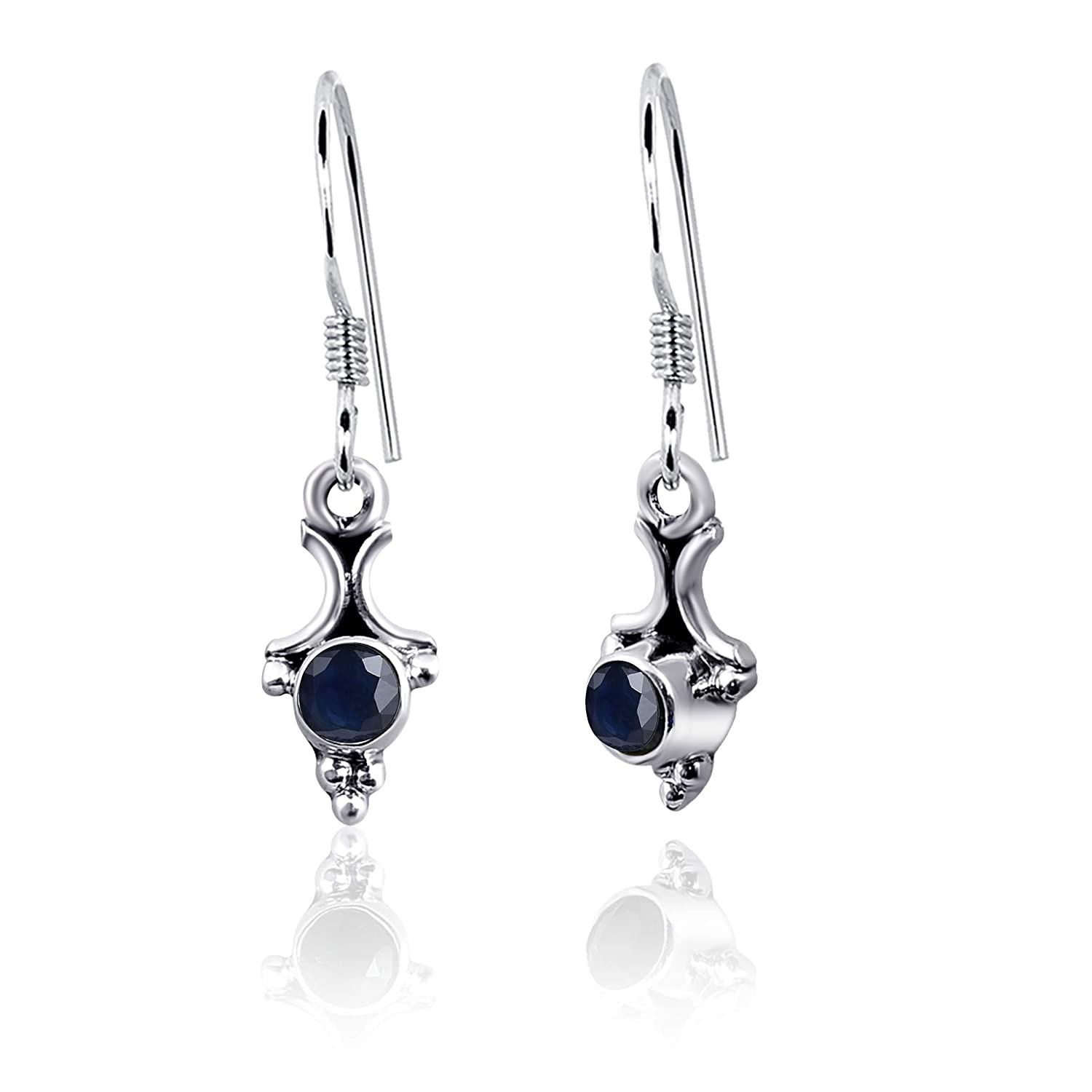 Very Beautiful round BLUE SAPPHIRE 925 SterlingSilver Necklace Earrings Ring Set