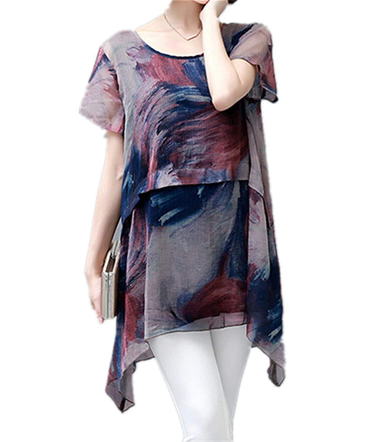 QIHUOKEJU Plus Size Women Long Chiffon Blouse Brown Fashion Chiffon Short Sleeve Shirt at Amazon Womens Clothing store: