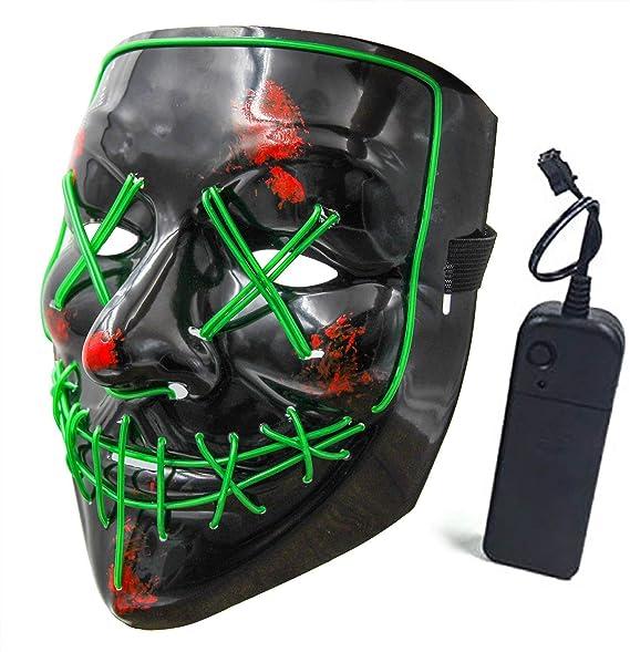Amazon.com: Máscara de Halloween LED, máscara de miedo con ...