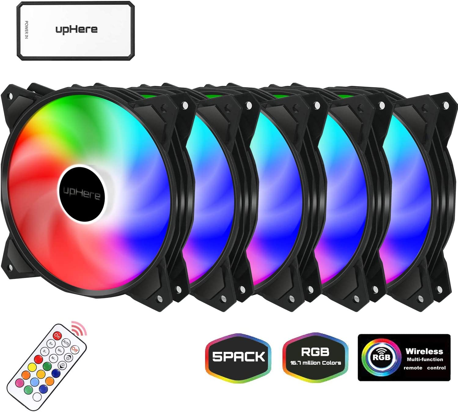 upHere 120mm Silent Intelligent Control Addressable RGB Fan Adjustable Colorful Fans with Controller and Remote,5-Pack,PF1206-5