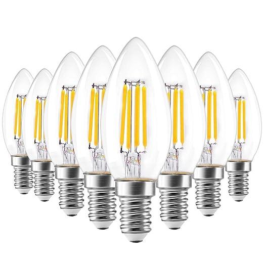 E14 Bombilla LED Vela, AVAWAY Vintage Bombilla Edison, 4W Equivale 40W Incandescente, 320LM