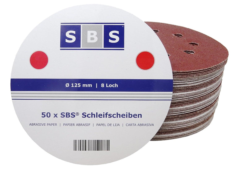 50 Pezzo SBS Dischi Abrasivi Velcro Eccentrica Carta abrasiva ø 125 mm 8 Fori Grana 150