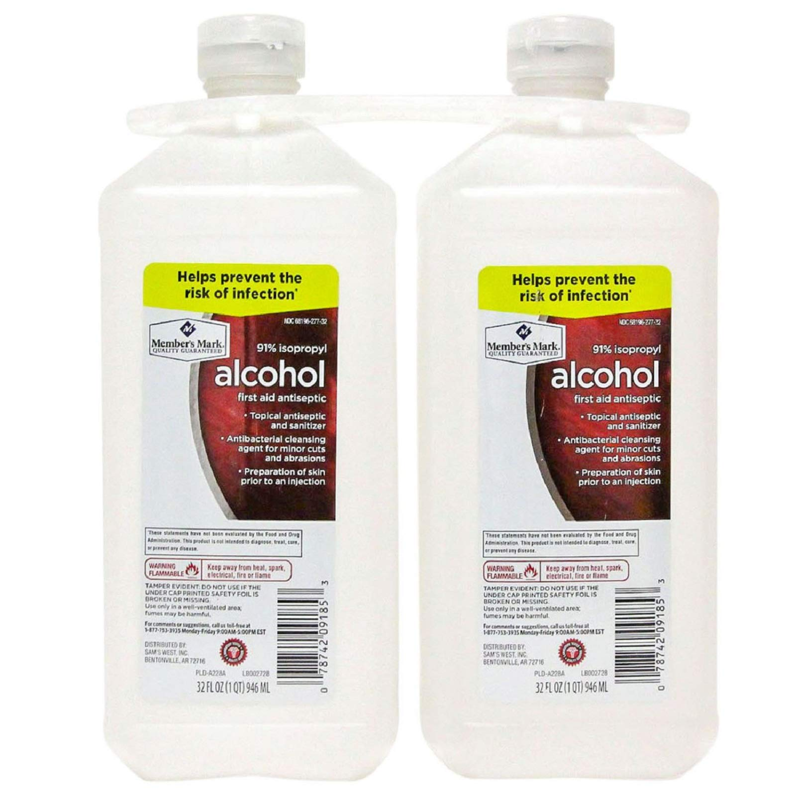 Members Mark 91% Isopropyl Alcohol (32 fl. oz., 2 pk.