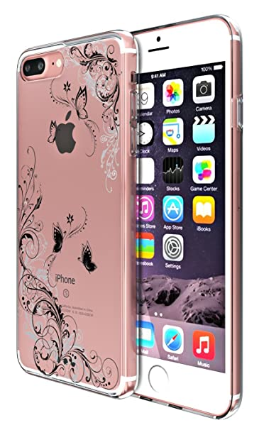 Croazhi Funda iPhone 7 Plus, iPhone 7 Plus / 8 Plus Transparente Suave TPU Carcasa Ultra Fina Caso Flores Cráneos de Rosa Ultra Delgada Anti-Arañazos ...
