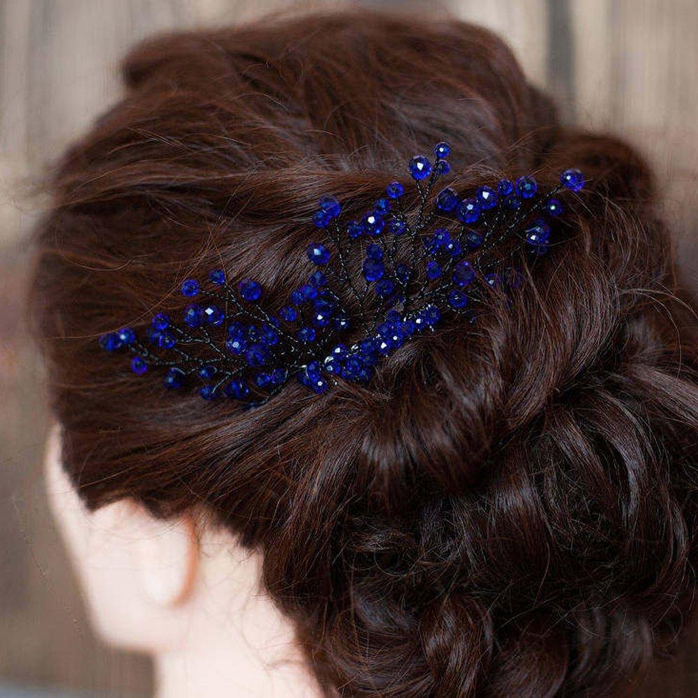 FXmimior Bridal Women Navy Blue Vintage Crystal Rhinestone Vintage Hair Comb Wedding Party Hair Accessories