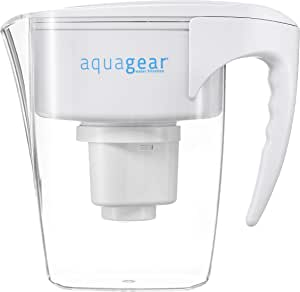 Aquagear Water Filter Pitcher - Fluoride, Lead, Chlorine, Chromium-6 Filter - BPA-Free, Clear