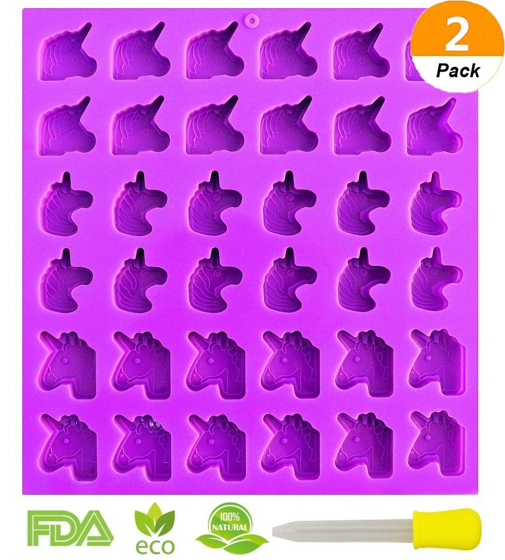 2 Pack 36 Cavity Gummy Unicorn Molds Candy Molds Gumdrop Jelly Molds Chocolate Molds Gelatin Molds Ice Tray Cupcake Toppers Decoration Molds(Dropper Included)