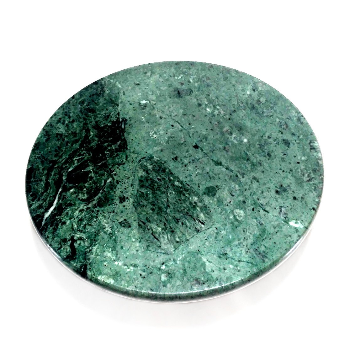 """Gr8 INDIA Green Marble Chakla - 10"""" Diameter - Ring Base Rolling Pin Board, Roti Maker - From Banks of Holy River Narmada product image"""
