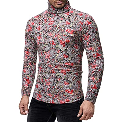 WINJUD Mens Sweater Autumn Winter Turtleneck Bottoming Tops Long Sleeve Slim Fit Print Pullover at Men's Clothing store