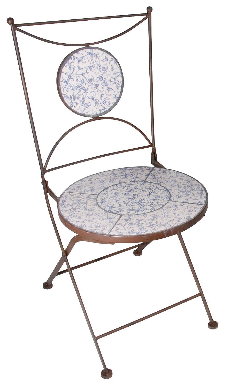 Esschert Design Aged Ceramic Stuhl, weiß blau, 42x54.2x88.5 cm, AC90