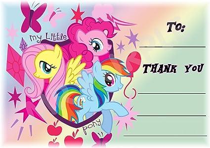 My Little Pony – gracias por venir fiesta tarjetas – Diseño de mariposas – partido suministros/accesorios (Pack de 12 A6 tarjetas de agradecimiento) WITH Envelopes: Amazon.es: Oficina y papelería