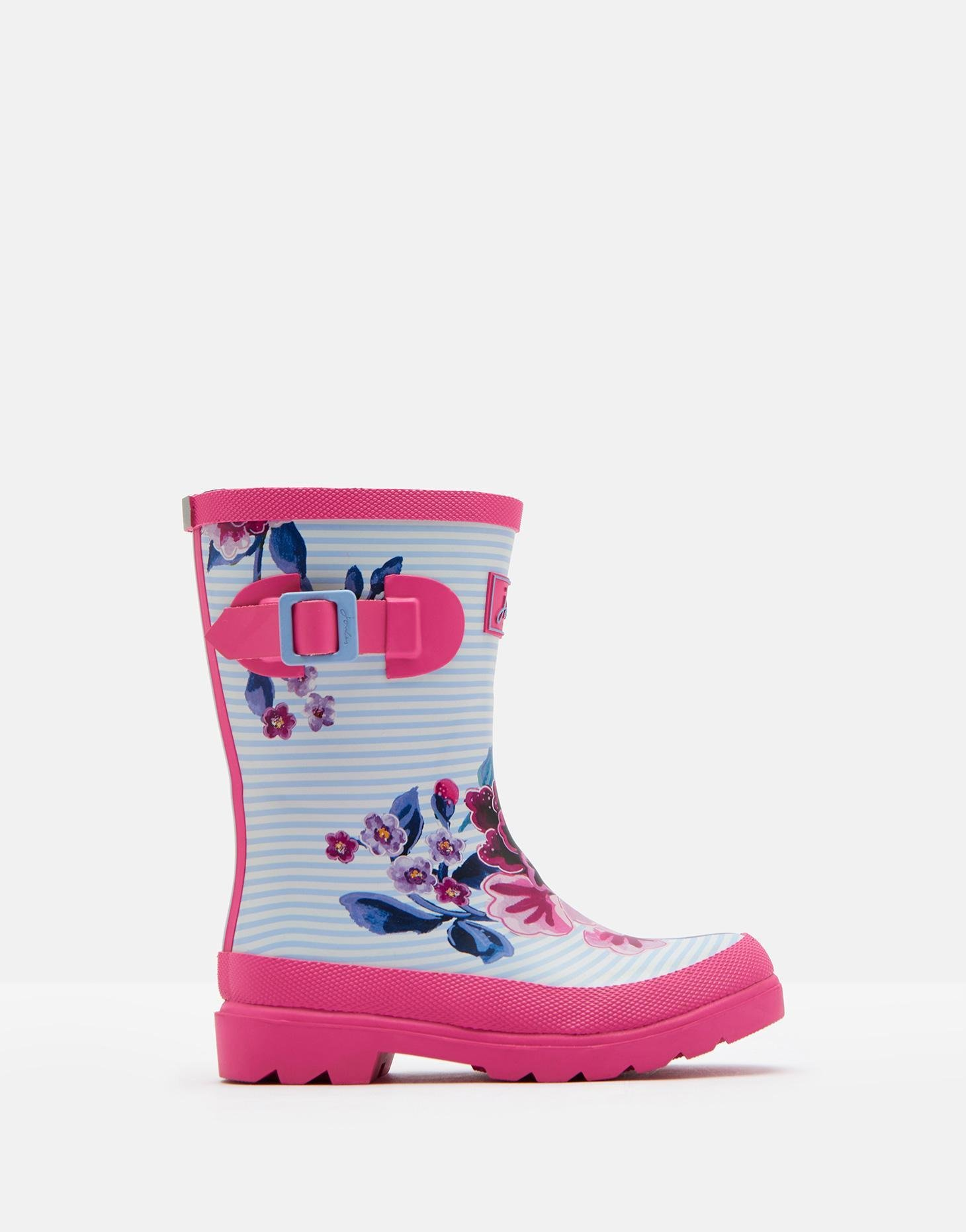 Joules Kids Baby Girl's Printed Welly Rain Boot (Toddler/Little Kid/Big Kid) Sky Blue Chinoiserie Floral 1 M US Little Kid