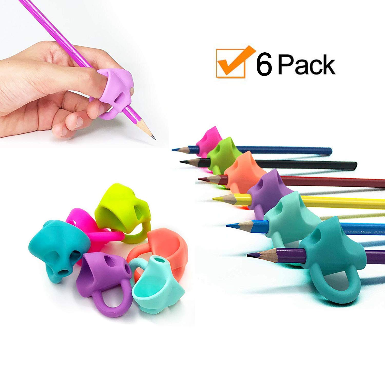 Pencil Grips Pencil Grips for Kids Handwriting for Preschool 2018 Generation New Mechanical Pencil Grip Elephant Shape For Kids Preschoolers Children Adults Special Needs for Left or Right Hand 6PCS AKEfit NA