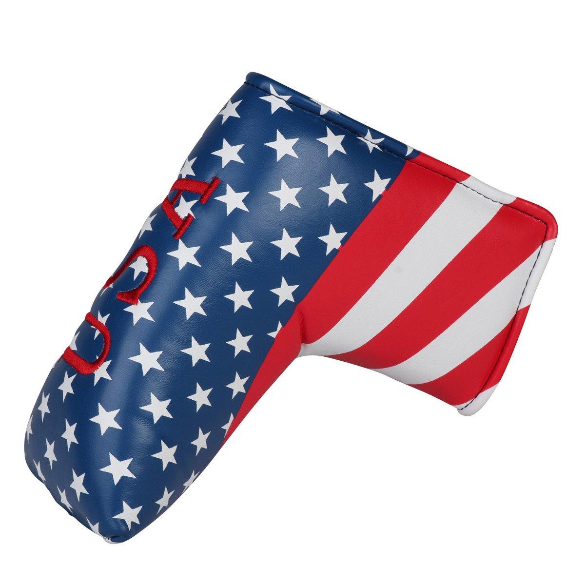 USA Starts and Stripes ゴルフパターヘッドカバー ブレードパターカバー Scotty Cameron Taylormade Odyssey Golf Builder用   B07LGRJZRQ