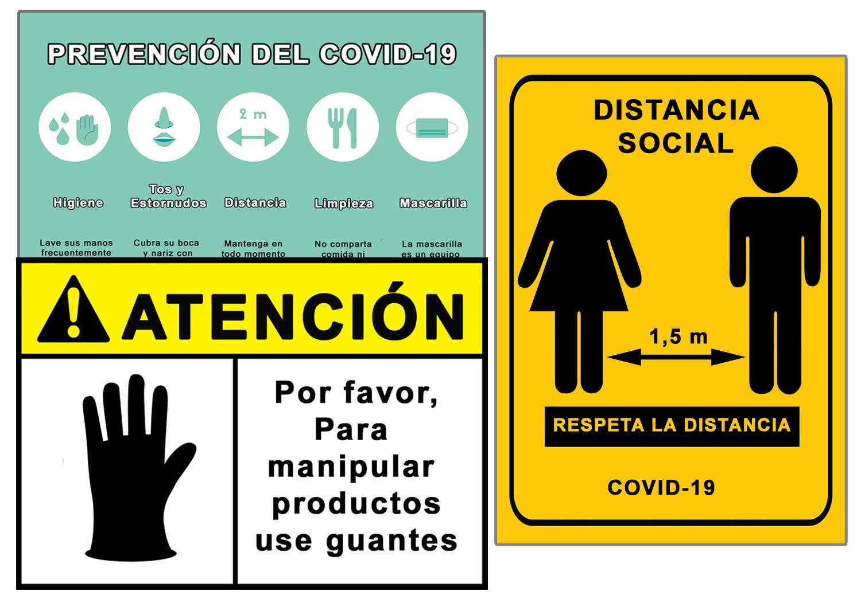 Señalización Coronavirus COVID19 | Señales Uso Guantes + Distancia Social + Pautas | Carteles para Empresas, Comercios, Oficinas | Autoinstalable y Resistente al Agua | 21 x 30 cm