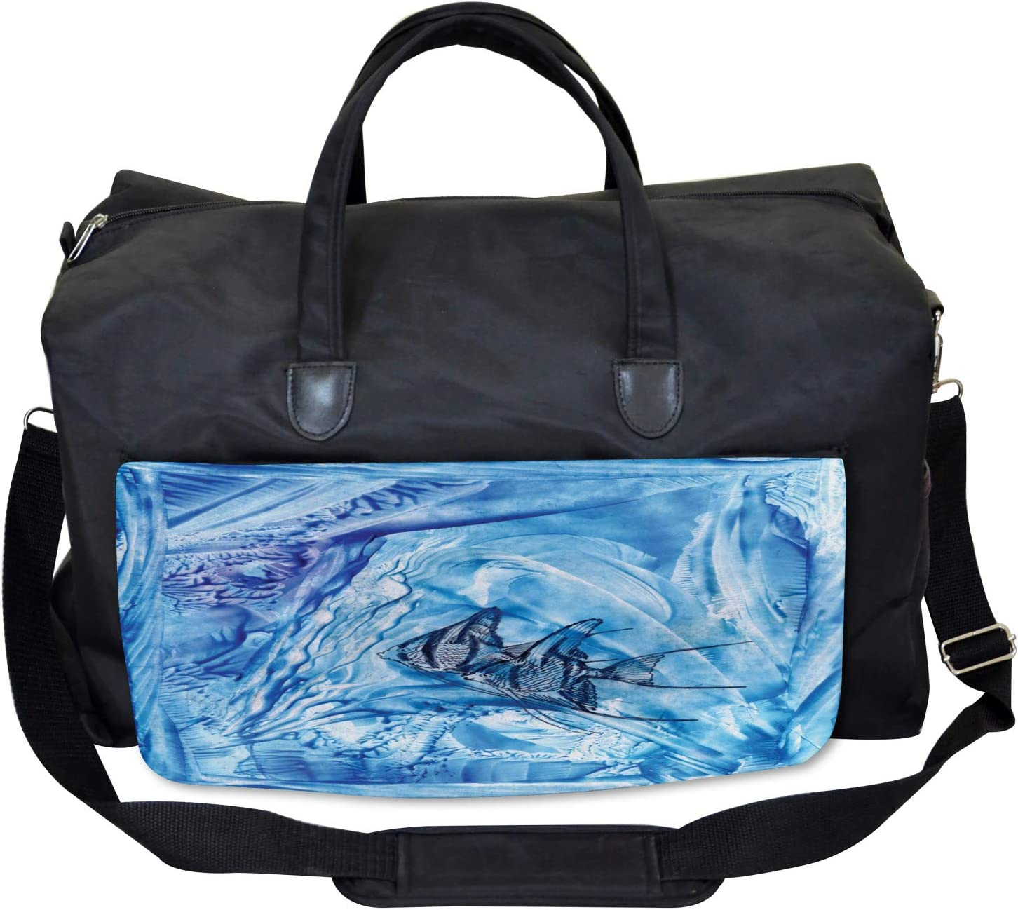 Ambesonne Blue Gym Bag Large Weekender Carry-on Swimming Fish