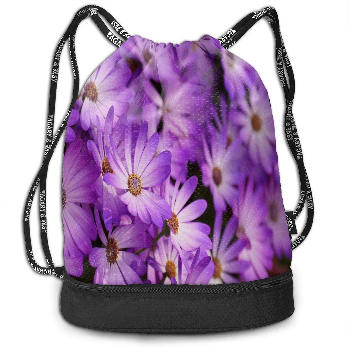 Unisex Bundle Backpack Purple Flowers Lotus Travel Durable Large Space Trendy Waterproof Drawstring Bag