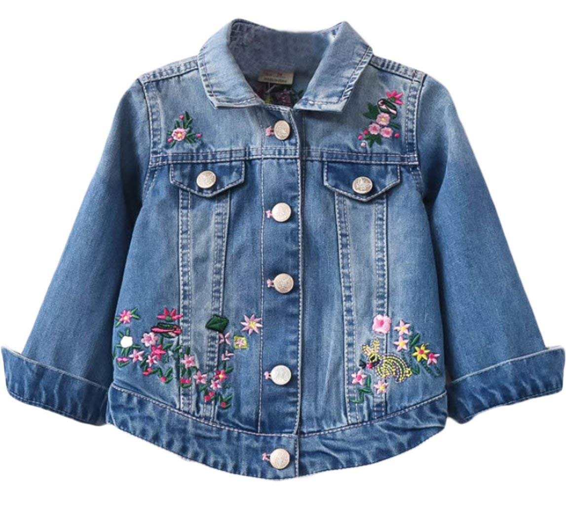 Baby Girls Floral Embroidery Denim Jacket Classical Stylish Jeans Coat Outwear (Size 100: 1-2 Years)