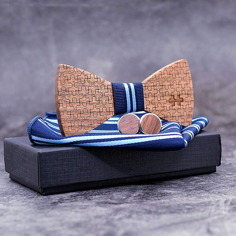 Richea Mens Wood Puzzle Bowtie Tuxedo Bow Tie Pocket Square and Cufflinks Set