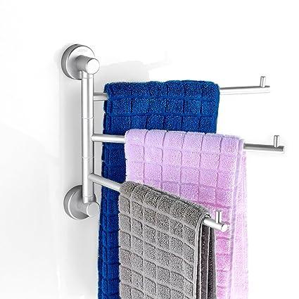Rabbitgoo Toallero con 3 Barras Brazos móviles para secador Cuarto de baño Cocina Lavabo WC Primero