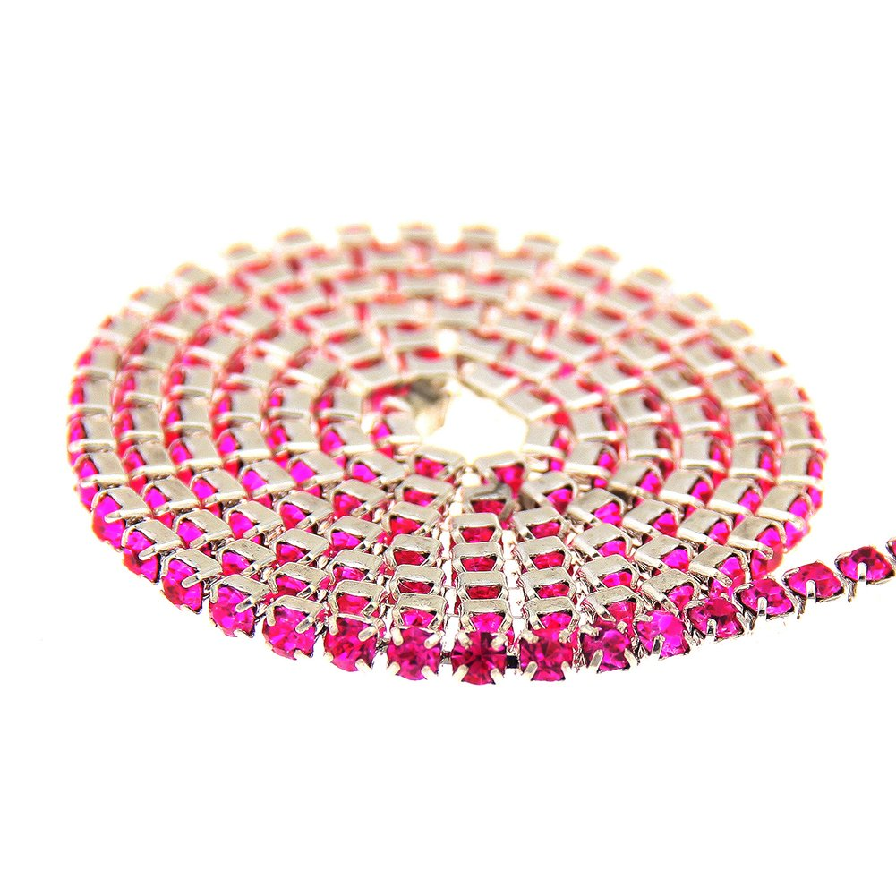 Nizi Jewelry Non Hotfix Glass Cup Chain Beads Fushia Rhinestones Silver Base For Clothes Shoes Jewelry Decorations ss6.5 2mm About 3m//3.3yards