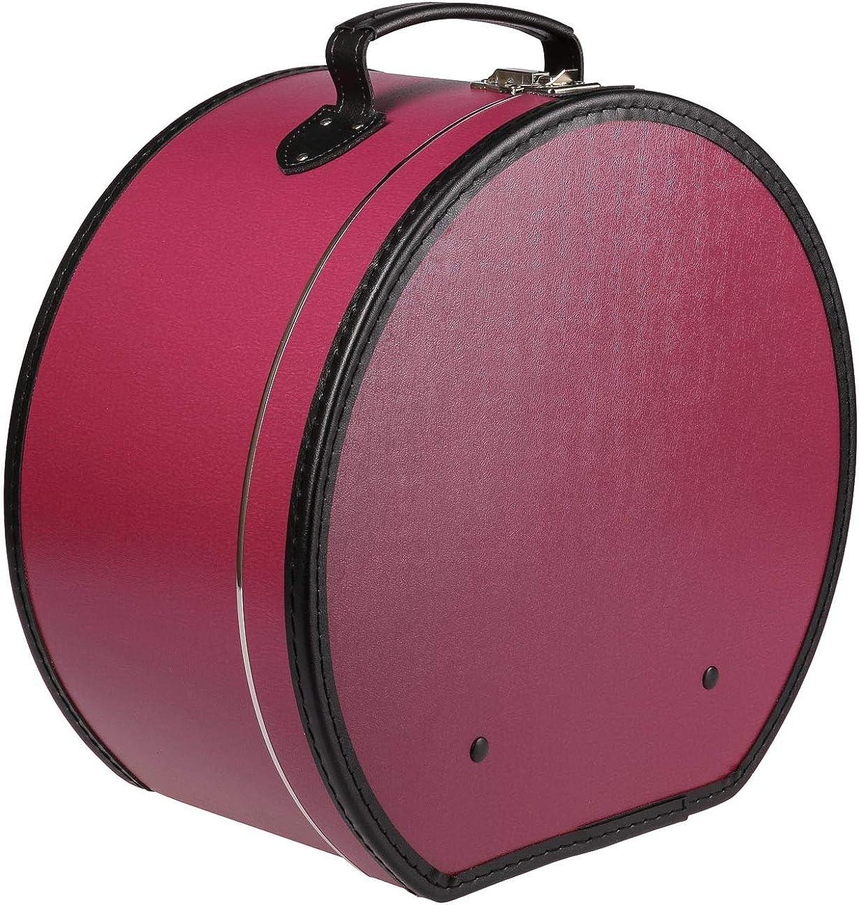 Lierys Sombrerera Redonda y Burdeos roja - Aprox. 40 cm x 21 cm - Caja para Sombrero Grande de Piel sintética - con asa y Cierre - Caja para Sombrero - También