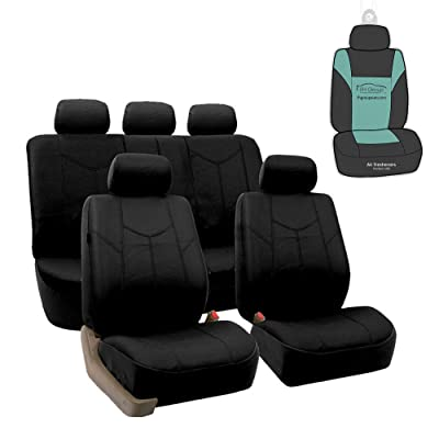 FH Group PU009115 Rome PU Leather Full Set Car Seat Covers, Airbag Compatible and Split Bench w. Gift, Solid Black- Fit Most Car, Truck, SUV, or Van: Automotive