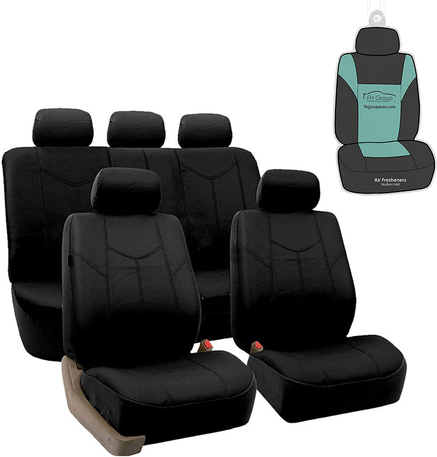 Solid Tan or Van Airbag compatible Truck Fit Most Car Suv FH Group PU009102 Rome PU Leather Pair Set Car Seat Covers
