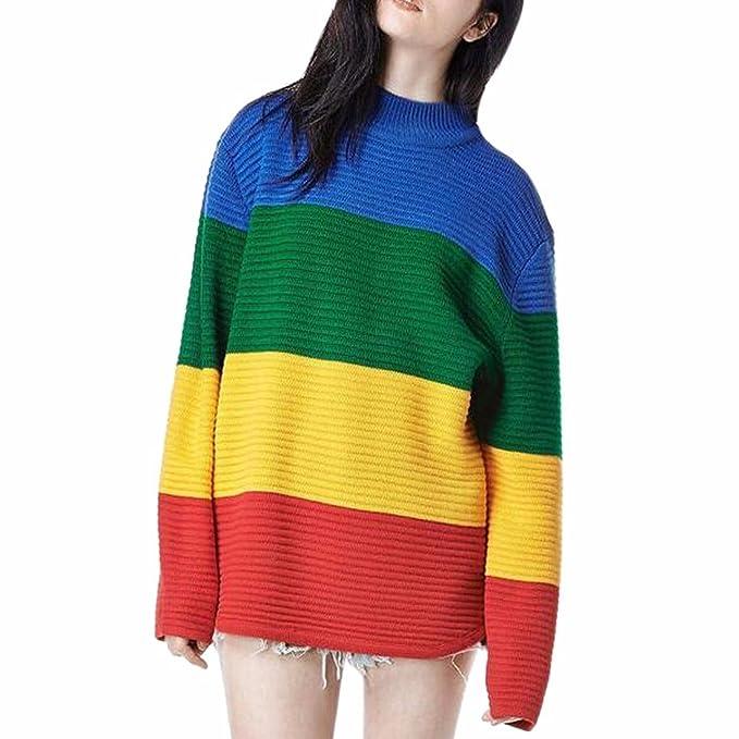 comprare popolare 66c94 35567 QIYUN.Z Ragazze Donne Strisce Colorate Pullover Maglioni ...