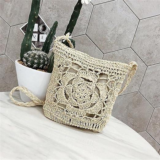 PERFECTSHOW Bolso hecho a mano del ganchillo Bolso hecho punto bolso de  almacenamiento de la playa de la flor para las mujeres Bolso tejido a  través del ... 74197da60c9f
