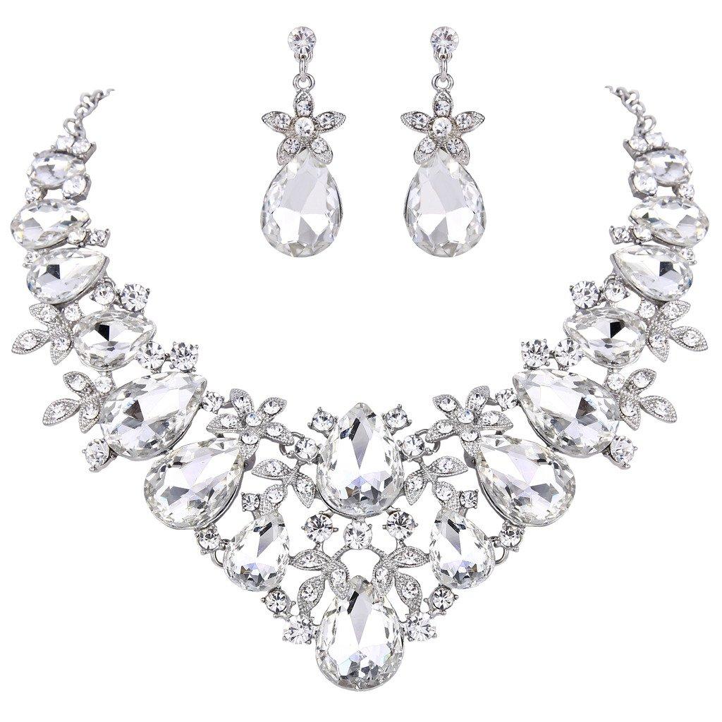 BriLove Women's Bohemian Boho Crystal Flower Leaf Vine Teardrop Statement Necklace Dangle Earrings Set Clear Silver-Tone by BriLove (Image #5)