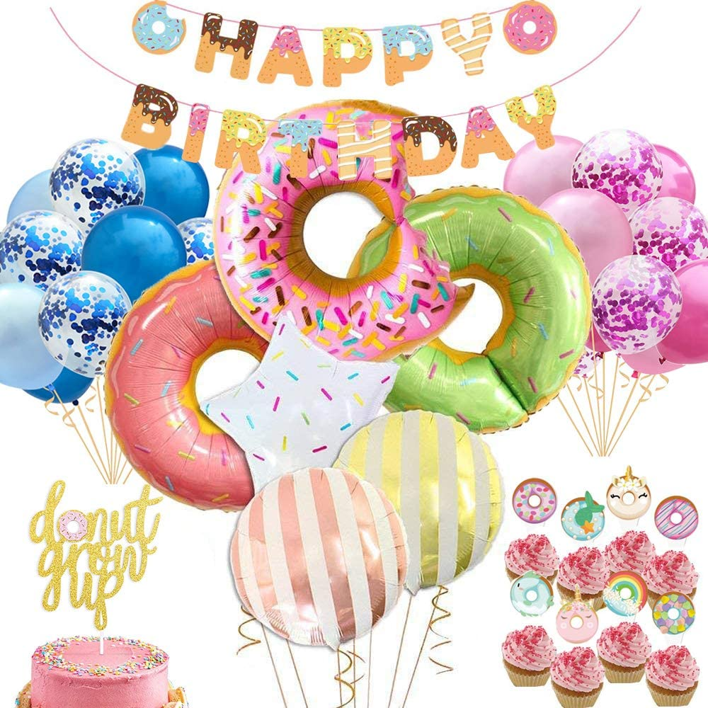 Donut Party Supplies Kit Unicorn Donut Cupcake Toppers Donut Grow Up Cake Topper Donut Party Balloons Sprinkles Donut Birthday Banner Latex Balloons for Boy Girl 32 pcs Donut Themed Party of Qinsly