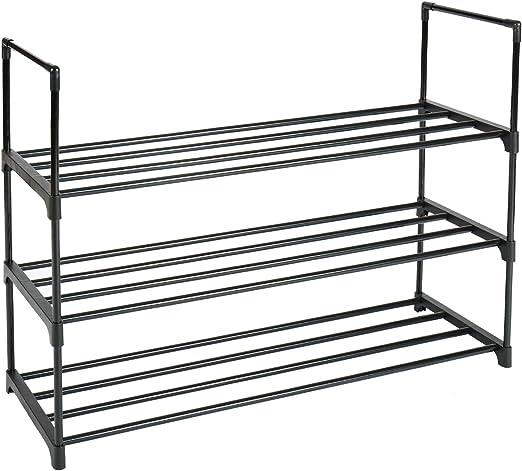 3 Tier Shoe Rack Stackable Metal Shoe Shelves Storage Organizer Rack
