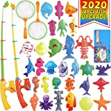 Magnetic Fishing Toys Game Set for Kids by ECLifeHack for Bathtime or Pool Party with Pole Rod Net, Plastic Floating…