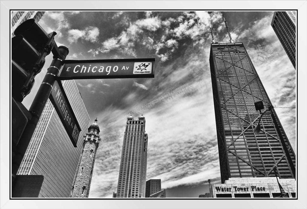 Chicago Michigan Avenue Street Sign Chicago Illinois Black and White Photo Photograph White Wood Framed Poster 20x14
