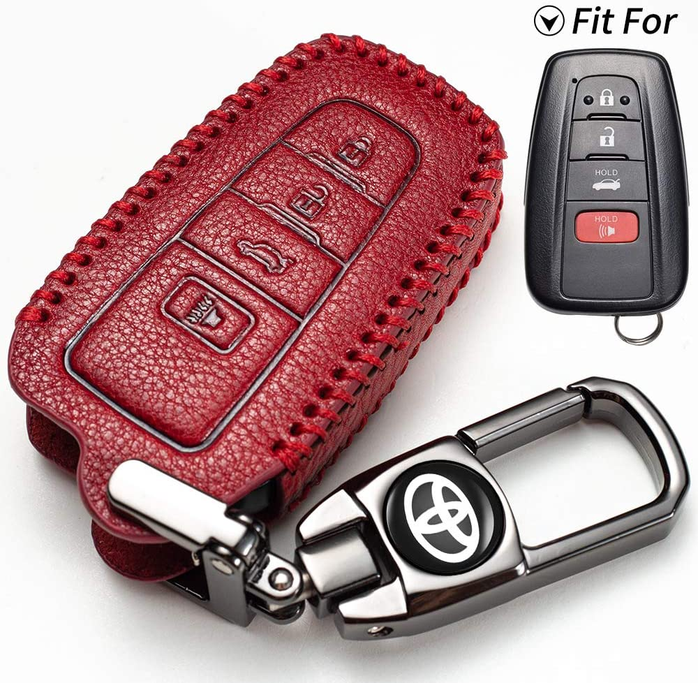 only for Keyless go Genuine leather key fob cover suit for Toyota Protector Compatible with 2018-2020 Toyota RAV4 Camry Avalon C-HR Prius Corolla 4Buttons car key case